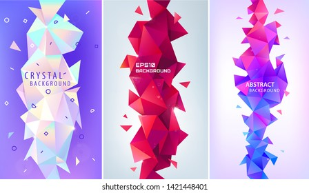 Vector set of abstract geometric 3d facet shapes. Use for banners, web, brochure, ad, poster, etc. Low poly modern style background. Vertical orientation. Purple, red, pastel colors