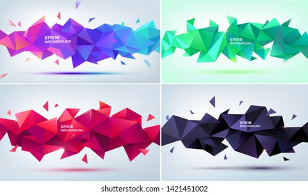 Vector set of abstract geometric 3d facet shapes. Use for banners, web, brochure, ad, poster, etc. Low poly modern style background. Purple, green, red, black
