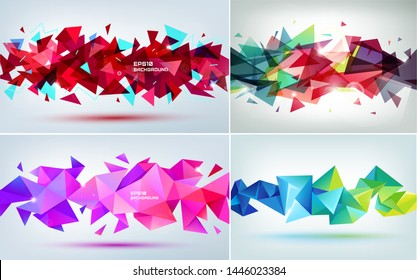 Vector set of abstract geometric 3d facet shapes. Use for banners, web, brochure, ad, poster, etc. Low poly modern style background. Sound, music concept