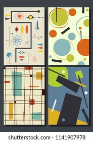 Vector Set of Abstract Geometric Backgrounds from the 1960s
