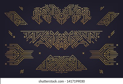 Vector set of abstract geometric design elements, Luxury Vintage Artdeco decorations, dividers. Linear style