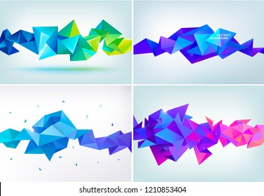 Vector set of abstract geometric facet shapes. Use for banners, web, brochure, ad, poster, etc. Low poly modern style background