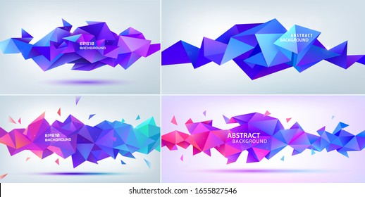 Vector set of abstract geometric facet, triangular, crystal 3d shapes. Use for banners, web, brochure, ad, poster, etc. Low poly modern style background