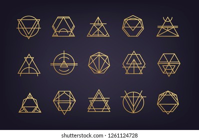 Vector set of abstract geometric logos. Art deco, hipster, golden line style