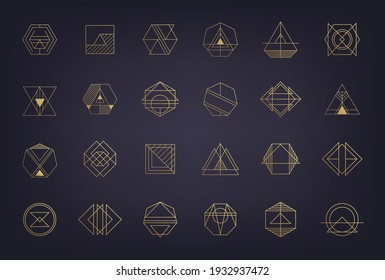 Vector set of abstract geometric logos. Art deco, hipster, golden line style. Circle, triangle, polygon linear shapes. Aztec, magic, esoteric icons, sacred geometry