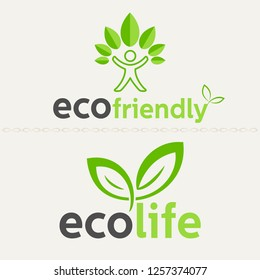 Vector set of abstract green logo design templates. All elements are on separate layers. Vector, illustration eps10