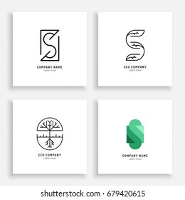 Vector Set abstract green tree logo design templates outline - emblems for holistic medicine , yoga classes, natural and organic food products Ayurvedic clinic and packaging - S Logo.