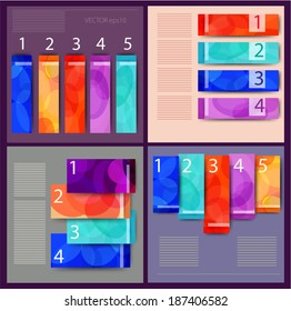 Vector set of abstract infographic Flat designs