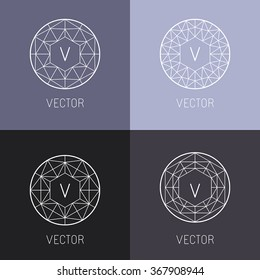 Vector set of abstract jewelry logo design templates and monogram templates in trendy linear style - diamonds and gems
