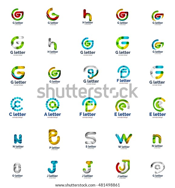 Vector Set Abstract Letter Business Logo Stock Vector
