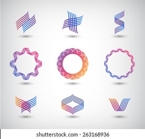 vector set of abstract line logos, icons isolated