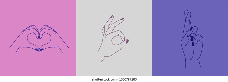 Vector set of abstract logo design templates in simple linear style - hands in different gestures - heart made with fingers, ok gesture, crossed fingers