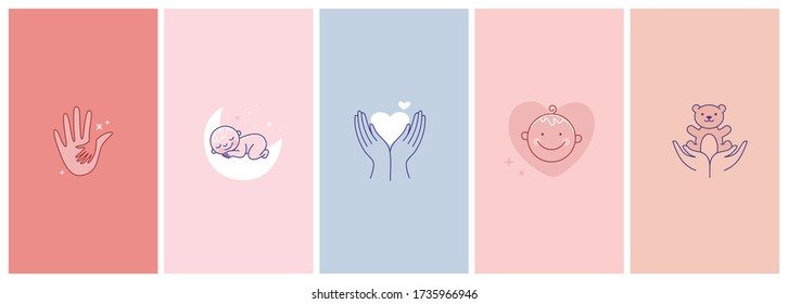 Vector set of abstract logo design templates in simple linear style - motherhood emblems, hands and heart, baby sleeping and smiling - symbols for social media stories highlights and posts