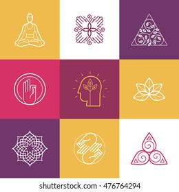 Vector set of abstract logo design templates and symbols - meditation and yoga practice - concepts and emblems for retreat or massage service, holistic centers