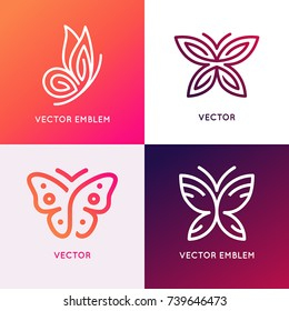 Vector set of abstract logo design templates and emblems - butterfly silhouettes - concepts and symbols for cosmetics, beauty and florist services - butterfly illustrations for print or packaging