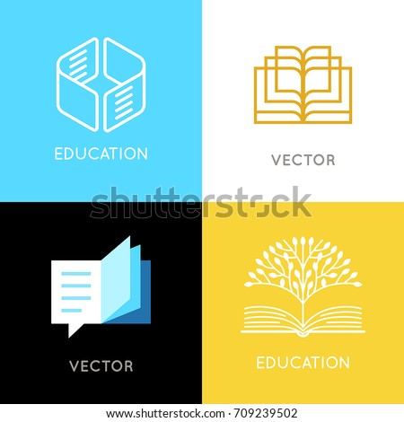 Vector set abstract logo design templates stock vector royalty free vector set of abstract logo design templates online education and learning concepts book emblems maxwellsz