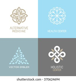 Vector set of abstract logos - alternative medicine concepts and health centers insignias  - yoga and spiritual emblems
