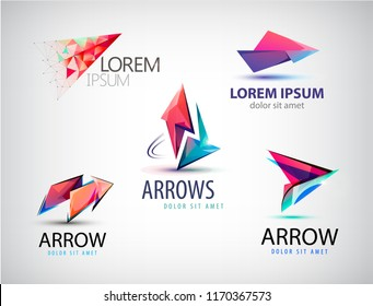Vector set of abstract logos, arrows, pointers. Business sign, web logo
