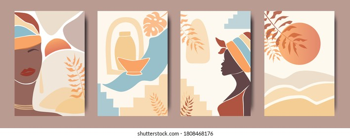 Vector Set of abstract posters with African woman in turban in minimalistic style. Ceramic vase and jugs, plants, abstract shapes and landscape.  Collection of contemporary art.