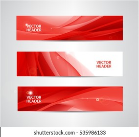 Vector set of abstract silk wavy headers, red banners. Use for web site, ad, brochure, flyer