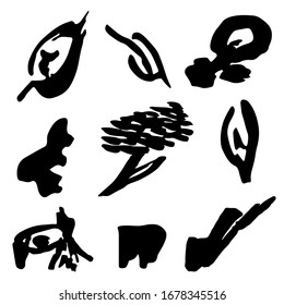 Vector set of abstract strokes and spots