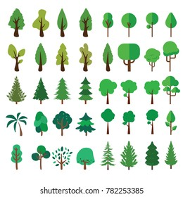 Vector Set of abstract stylized trees. Natural illustration.