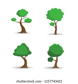 Vector set abstract stylized trees.Green tree cartoon style.