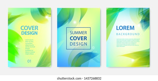 Vector set of abstract summer covers, posters, flyers, brochures. Wavy, sunny, palm leaves holiday design template