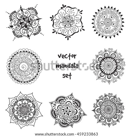 Vector Set Abstract Tattoo Henna Mandala Stock Vector Royalty Free