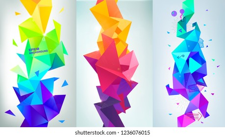 Vector set of abstract vertical facet banners, 3d crystal shapes. Colorful geometric style, low poly triangles backgrounds