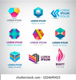 Vector set of abstract web cube logos, corporate icons, polygonal