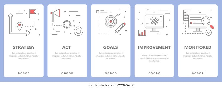 Vector set of action plan concept vertical banners. Strategy, act, goals, improvement and monitored concept elements. Thin line flat design symbols, icons for website menu, print.