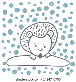 Vector set of adorable animals in trendy Scandinavian style. Funny, cute, hugge, hand drawn illustration for poster, banner, print, decoration kids playroom or greeting card.