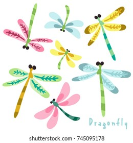 Vector set of adorable dragonflies.