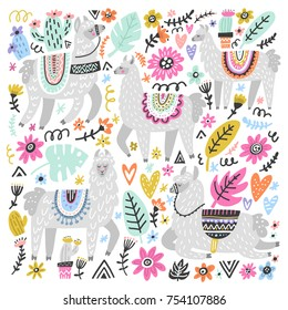 Vector set of adorable lamas. Hand drawn style. Ideal for greeting cards, invitations, children room decoration, etc.