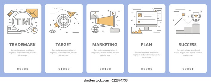Vector set of advertising concept vertical banners. Trademark, target, marketing, plan and success concept elements. Thin line flat design symbols, icons for website menu, print.