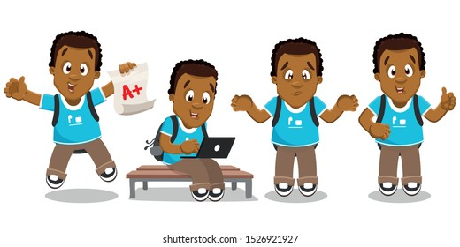 Vector set with african-american student. Curly african schoolboy, teenager jumping for joy with good school mark, sitting on bench, looking to laptop, making helpless gesture, showing thumb up.