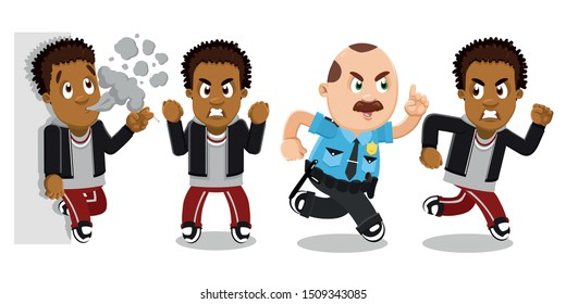 Vector set with afro-american bully, rowdy, ruffian guy, African teen in hoody and sweatpants is angry, smoking cigarette, shaking fist, sprint away from policeman. Cartoon isolated on white.
