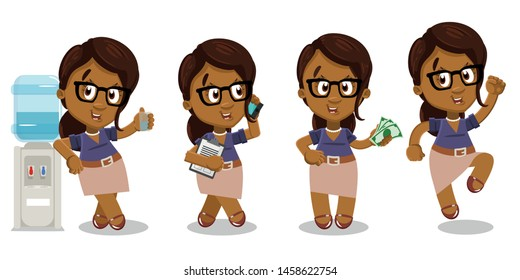Vector set with afro-american lady spending time at office. African woman in glasses drinking water near dispenser, speaking by phone, keeping money, jumping for joy. Cartoon isolated on white.