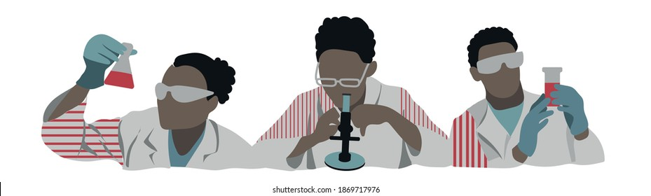 vector set of afroamerican persons, scientist in laboratory with bottle and microscope