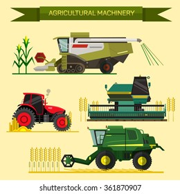 Vector set of agricultural vehicles and farm machines. Tractors, harvesters, combines. Illustration in flat design. Agriculture business concept. Agriculture machinery. Agriculture crop harvest.
