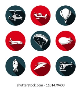 Vector Set of Air Transport Icons. Autogyro. Seaplane. Balloon. Aircraft. Paraglide. Airship. Rocket. Hang-Glider. Helicopter. Flat style