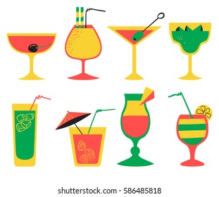 Vector set with alcohol cocktails. Flat cartoon style collection with drinks, juice and decorations in glasses with fruits. Vector illustration for beach summer party, cocktail designs