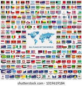 vector set of all world countries flags (sovereign states, dependent, overseas territories and other areas,-total of 232 flags). Map of the world with countries names and borders in blue color palette