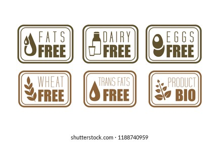 Vector set of allergen free labels trans fats, dairy, eggs and wheat . Natural product symbols. Organic food theme