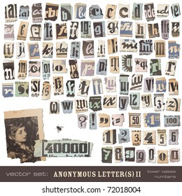 """vector set: alphabet based on vintage newspaper cutouts part 2 (lower cases and numbers) - ideal for your threatening letters, ransom notes or similar ... """"projects"""""""