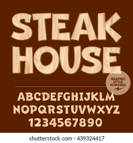 Vector set of alphabet letters, numbers and punctuation symbols. Wood sign with text Steak house