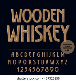Vector set of alphabet letters, numbers and punctuation symbols. Label with text Wooden whiskey