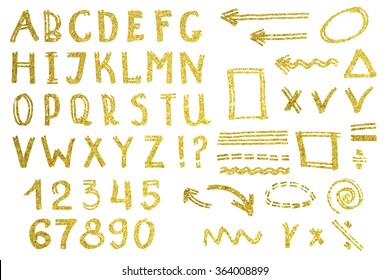Vector set of alphabet and symbols. Hand drawn letters. Letters of the alphabet written with a golden sequins.