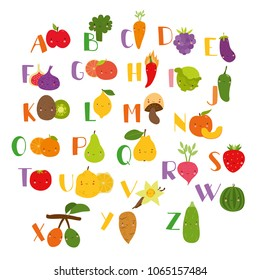 vector set alphabet with vegetables, fruits and berries. Vegetarian set, learning the alphabet for children. cute illustrations